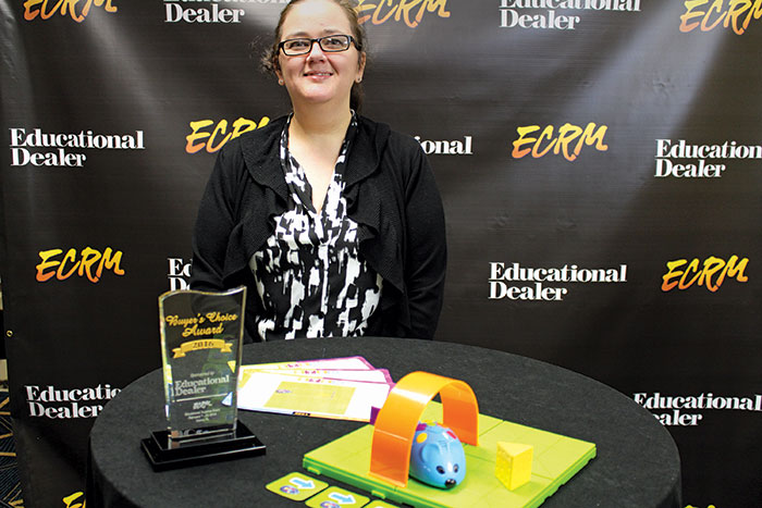 Sally Lovell from Learning Resources and the Stem Robot Mouse Coding Activity Set. Call 800-222-3909 to order