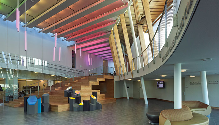Griffin Hall, at the Northern Kentucky University College of Informatics, brings technology and the arts together into one signature space. It houses the academic departments of Business Informatics, Computer Science and Communication, and the Center for Applied Informatics. Griffin Hall is one of four learning environments on the EDspaces architect-led tour. The buildings exemplify sustainability, creative design, innovative interiors, and learning beyond four walls. The tour is sponsored by the AIA's Committee on Architecture for Education. Photo courtesy of Goody Clancy architects, Boston.
